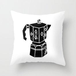 Moka Pot coffee linocut black and white minimal foodie kitchen coffee lover art Throw Pillow
