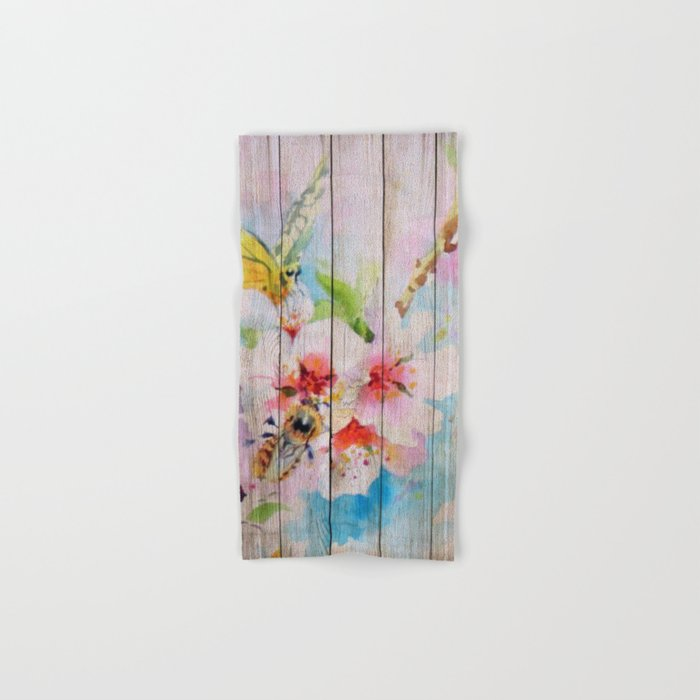 Spring on Wood 01 Hand & Bath Towel