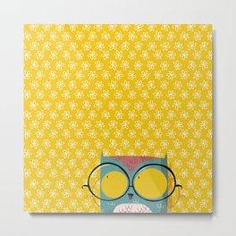 Peeking owl with glasses Metal Print