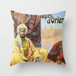 Vintage Paris Oriental Carpets store advertising Throw Pillow