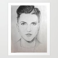 Ruby in graphite Art Print