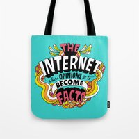 internet Tote Bags featuring The Internet. by Chris Piascik