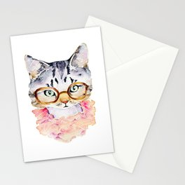 Cat with Glasses Watercolor Stationery Cards