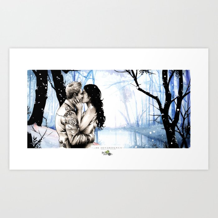 A Winter Nights Kiss Art Print