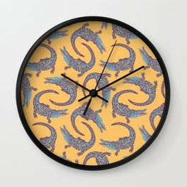 Crocodiles (Camel and Blue Palette) Wall Clock