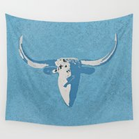 cow Wall Tapestries featuring Cow by Saundra Myles