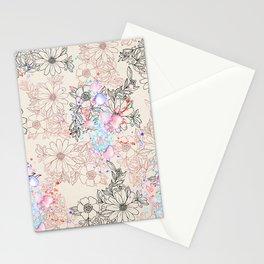 Modern vintage black rose gold watercolor floral Stationery Cards