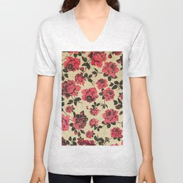 Red Rustic Roses on Faux Gold Unisex V-Neck