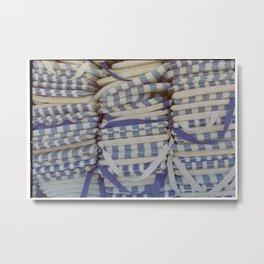 Blue piled stripes Metal Print