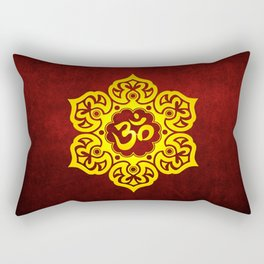 Vintage Scratched Yellow and Red Lotus Flower Yoga Om Rectangular Pillow