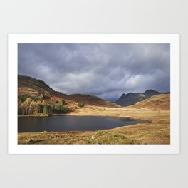 Blea Tarn with Langdale Pikes beyond. Cumbria, UK. Art Print