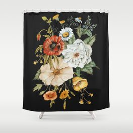 Wildflower Bouquet on Charcoal Shower Curtain