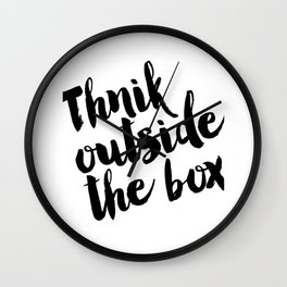 Think Outside The Box, Typography Print, Typography Art, Minimalist Poster, Simple Wall Clock