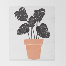 Potted Monstera Throw Blanket