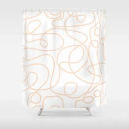 Doodle Line Art | Peach/Apricot Lines on White Background Shower Curtain