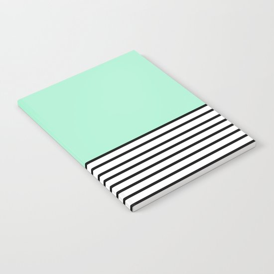 Fresh Mint Black and White stripes pattern Notebook