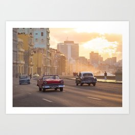 Sunset and classic cars in Havana | Travel photography Cuba Art Print