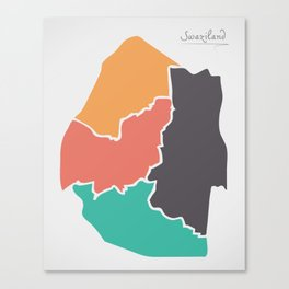 Swaziland Map with states and modern round shapes Canvas Print