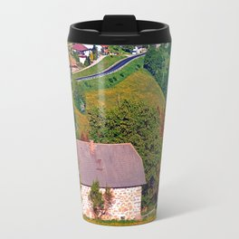 A farm, a valley and lots of panorama Travel Mug
