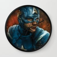 avenger Wall Clocks featuring The First Avenger by SachsIllustration