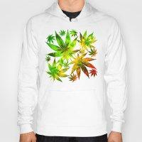 marijuana Hoodies featuring Marijuana Leaves Rasta Colors by BluedarkArt