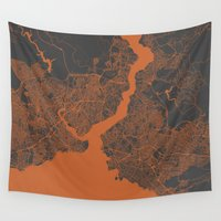 istanbul Wall Tapestries featuring Istanbul Map by Map Map Maps