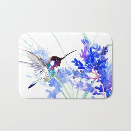 Flying Hummingbird and Blue Flowers Bath Mat