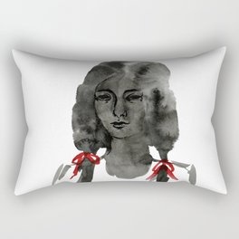 Ink Portrait - back white and red inky watercolour illustration painting Rectangular Pillow