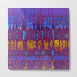 Tropical Abstract Trees in Purple and Gold Metal Print