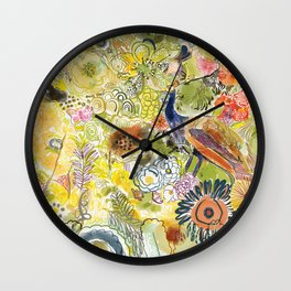 Peacock in the Jungle Wall Clock