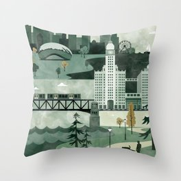Chicago Travel Poster Illustration Throw Pillow