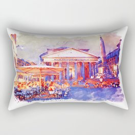 The Pantheon Rome Watercolor Streetscape Rectangular Pillow