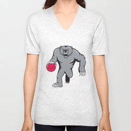 Grizzly Bear Angry Dribbling Basketball Isolated Unisex V-Neck