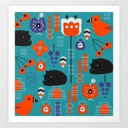 Modern birds and sleepy cats Art Print