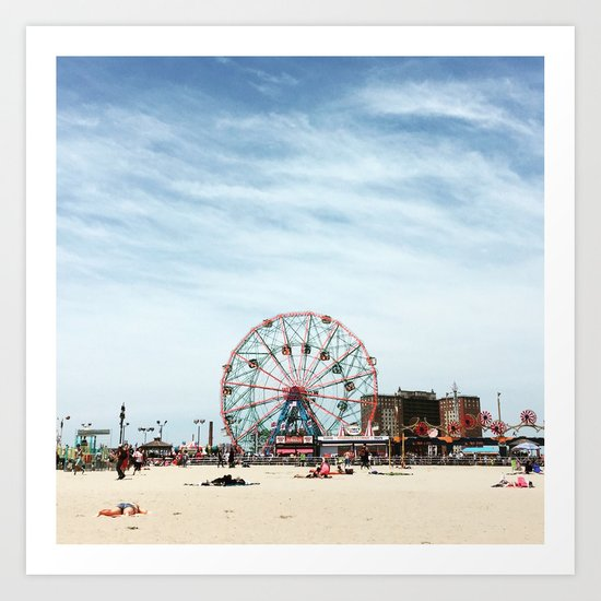 Coney Island Beach: Coney Island Beach New York Art Print By CDina Photography