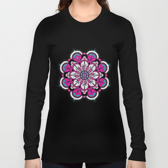 Black and White Flower in Magenta Long Sleeve T-shirt