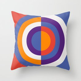 Circles Number Two - Red And Blue Throw Pillow