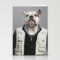 english bulldog Stationery Cards featuring English Bulldog Worker by Life on White Creative