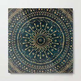 Geometric tribal gold mandala Metal Print