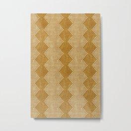 mudcloth diamonds - mustard Metal Print