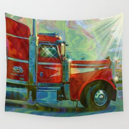 The Trucker - Red Lorry Artwork Wall Tapestry