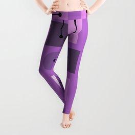Atomic Age Simple Shapes Purple Leggings