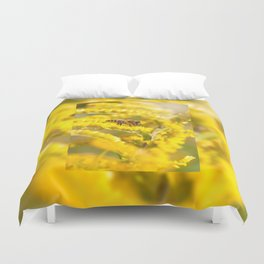 Bee sitting on Solidago virgaurea Duvet Cover