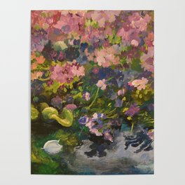 Pond with flowers Poster