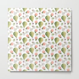 Bicycles Roses and Balloons Pattern Metal Print