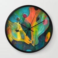 giraffes Wall Clocks featuring Giraffes by Silke Powers