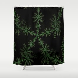 Neon black star pattern Shower Curtain
