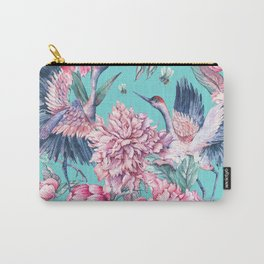Teal peonies and birds Carry-All Pouch