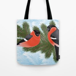 Bullfinch birds on fir tree branches Tote Bag