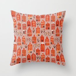 Red Orange Holland Houses Throw Pillow